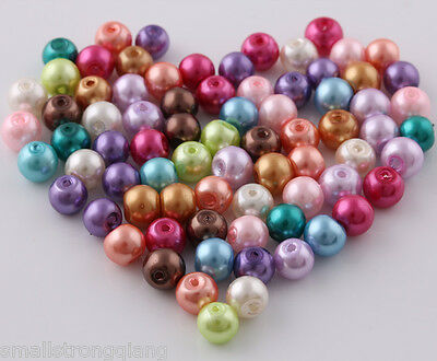 100 Pcs Mixed color glass pearls spacer beads Necklace findings charms 6mm