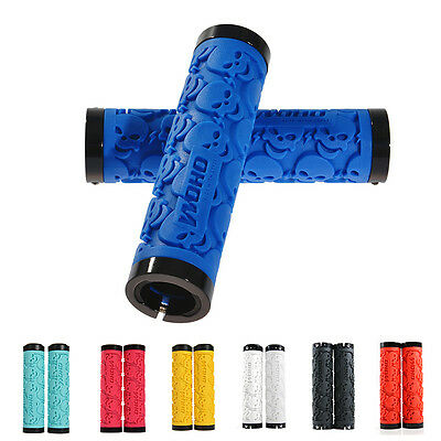 WOHO Skull MTB Bicycle Handlebar Grips Rubber Lock-on Grips Fixed Gear 7 Colors