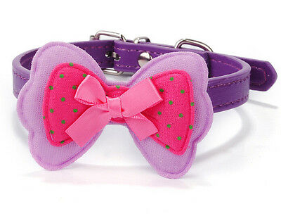 Pet Dog cat Adjustable Cute Double bow Collar Fashion High quantity purple C529