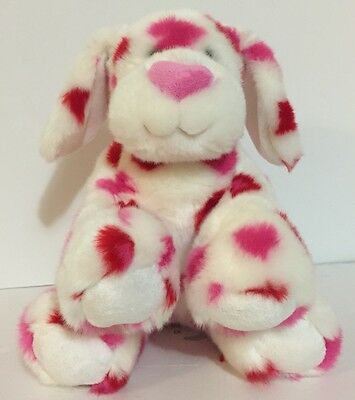 BUILD A BEAR VALENTINES DAY Hearts Love Puppy Dog White Pink Red Heart Nose