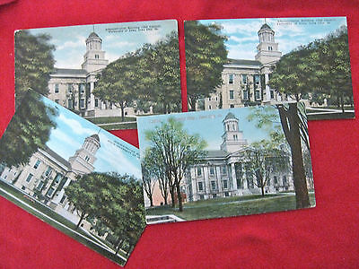 1920's PENNY POST CARD UNIVERSITY OF IOWA OLD CAPITOL SET OF 4-RARE COLLECTIBLES