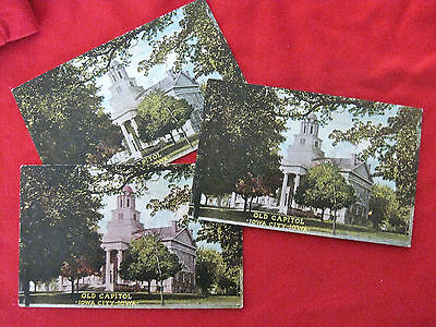 1907-1911 COLOR PENNY POST CARD UNIVERSITY OF IOWA OLD CAPITOL 3-SET! RARE!