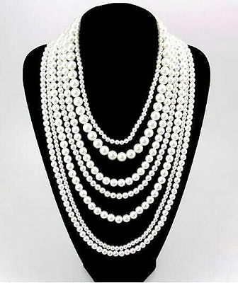 New fashion multilayer faux pearl jewelry design lady chunky statement necklace