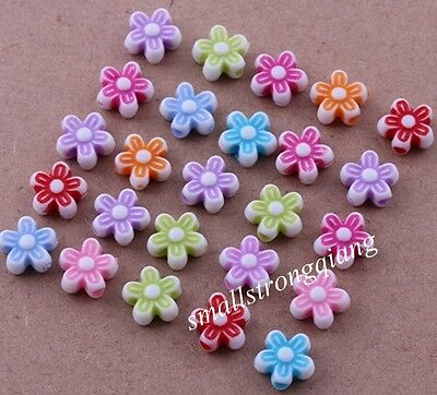 200 pcs Mixed color Acrylic Flower loose Spacer Beads Charms Findings 9x4mm