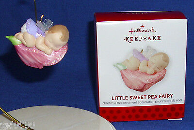 Hallmark Miniature Ornament Little Sweet Pea Fairy 2013 Baby Fairy on Flower Bud