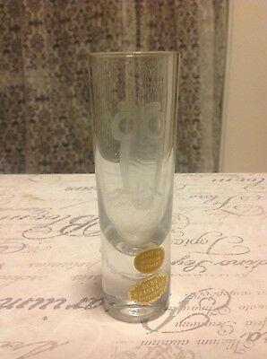 VINTAGE ECHT KRISTALL CRYSTAL ETCHED OWL SHOT GLASS HIGHBALL WESTERN GERMANY