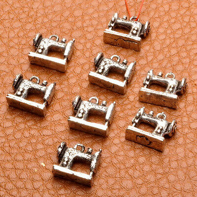 8 PCS SEWING MACHINE DANGLE CHARM BEADS FINDINGS 10X11X3MM 925 SILVER PLATED