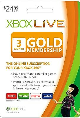 Get Today- Microsoft Xbox ONE/360 Live Gold Membership 3 Months
