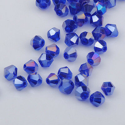 100pcs blue ab exquisite Glass Crystal 4mm #5301 Bicone Beads loose beads @