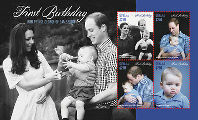 Guyana Stamp 2014 Prince George Of Cambridge First Birthday Sheetlet