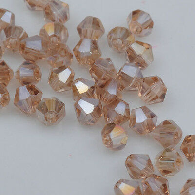 100pcs AB Silver Champagne Crystal 4mm #5301 Bicone Beads loose beads @