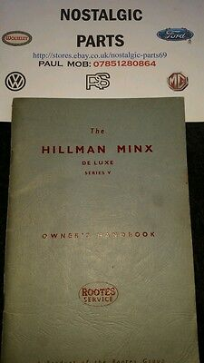 Hillman Minx Deluxe Series V Owners Handbook Rootes Service