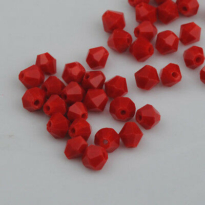 100pcs exquisite Porcelain RED Crystal 4mm #5301 Bicone Beads loose beads
