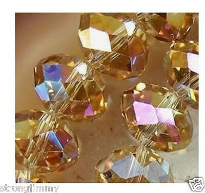 HOT SELL 70pcs champagne AB Swarovski Crystal Loose Beads 6*8mm J7