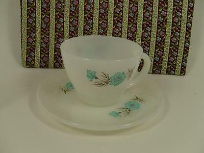 Vintage Fire King White Opaque Floral Pattern 8oz Tea Cup and Saucer USA