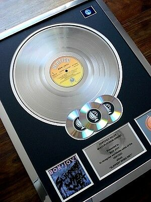 Bon Jovi Slippery When Wet Lp Multi Platinum Disc Record Award Album