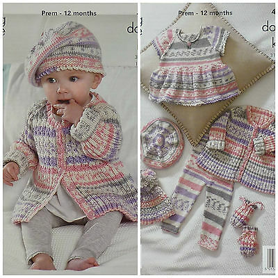 KNITTING PATTERN Baby Cable & Rib Coat Beret Hat Top & Mitts DK King Cole 4011