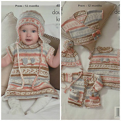 639ef5d396e1 BABY KNITTING PATTERN Baby Cardigan Coat Dress and Earflap Hat DK ...
