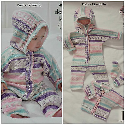 KNITTING PATTERN Baby All-in-One with Hood Cardigan & Socks DK King Cole 4009
