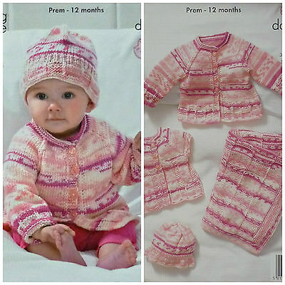 KNITTING PATTERN Baby Blanket Cardigan Jacket & Hat Cherished DK King Cole 4007