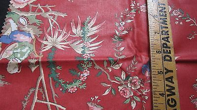 Fabric Remnant,Cotton/Blend,Asian-Inspired Print,Flowers,Lute Player+,Brick Red