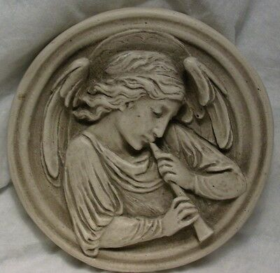 "Sloane Square London Holy Trinity Angel Flute Plaster Relief 7"" Wall Plaque"