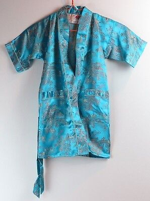 Chinese Children's Robe - Peony Brand - Shanghai China Turquoise Floral - Size 2