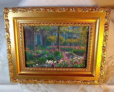 """NEW DOLLHOUSE STUNNING FRAMED PICTURE, """"GARDEN AT GIVERNY"""", CLAUDE MONET, FRANCE"""