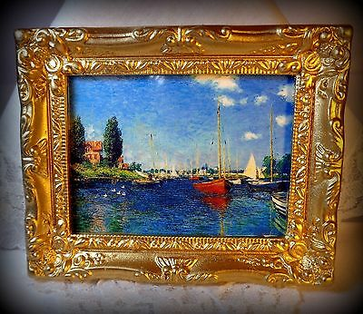 """NEW DOLLHOUSE FRAMED PICTURE, """"BOATS AT ARGENTEUIL"""", CLAUDE MONET, FRANCE, 1875"""