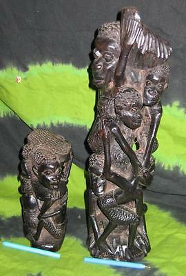 2x Ethnic WOODEN TRIBAL STATUE AFRICAN ART ALTAR VASE MASK DOLL totem poll stand
