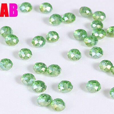 NEW DIY Jewelry Faceted 100pcs Rondelle crystal #5040 3x4mm Beads Grass-green AB