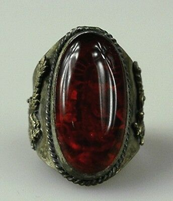 Chinese Old Collect Tibet Silver inlaid Agate Rings Dragon Phoenix Design Style