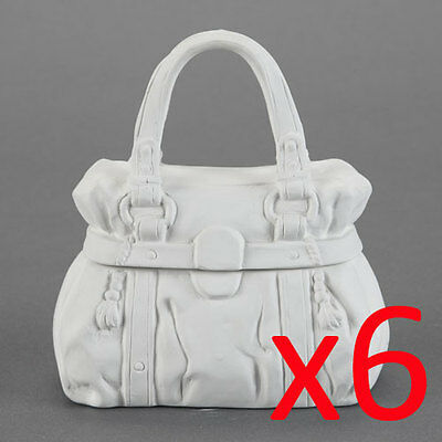 Ceramic Bisque Kids Party Plaster Painting Figurine - Handbag Trinket Box x 6