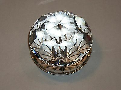 VINTAGE PRISMATIC CLEAR OCTAGON CRYSTAL PAPERWEIGHT W/ STARBURST  BASE