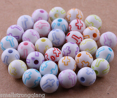 100 pcs Mixed color Acrylic Cross Spacer Beads Charms Jewelry Findings 8mm