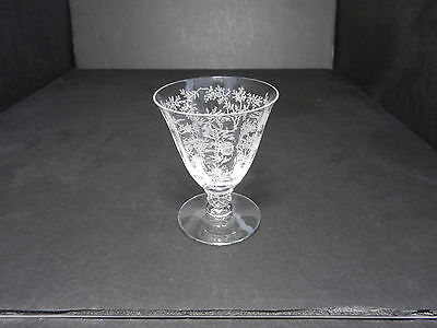 """Fostoria Chintz on Stem #6026 Oyster Fruit Cocktail Clear Etch 3 3/4"""" T ca 1940"""