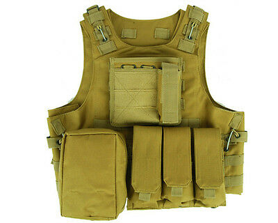 Tactical Military SWAT Police Hunting Molle Combat Plate Carrier Pouch Vest Tan