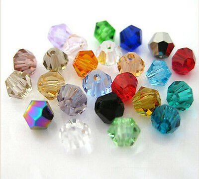 100pcs mix exquisite Glass Crystal 4mm #5301 Bicone Beads loose beads @