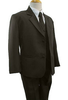 Brown New Baby Toddler & Boy Formal Tuxedo 5 piece Suit Set New born to 12 Brown