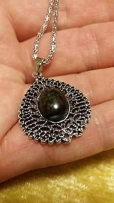 Natural Resin Tibet Silver Necklace & Black Retro Oval Style Pendant - 22 inch