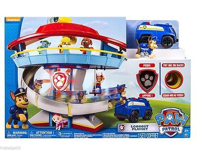 Nickelodeon Paw Patrol LOOKOUT PLAYSET Chase Figure & Vehicle Sounds NEW