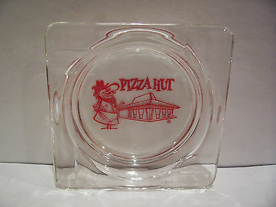 Vintage Collectible Pizza Hut Clear Glass Ashtray-Tobacco-Advertising-Food