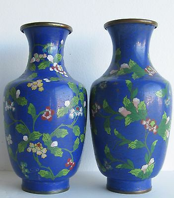 Fine Old Pair of Chinese Cloisonne Blue & Lotus Vines Decorated Scholar's Vases