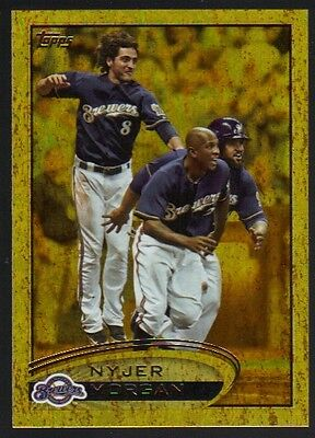 2012 Topps Series 1 Gold #66 Nyjer Morgan Pirates Golden Moments Foil Parallel