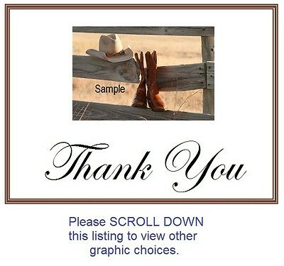 25 Personalized WEDDING Favors Custom THANK YOU Note CARDS COUNTRY WESTERN
