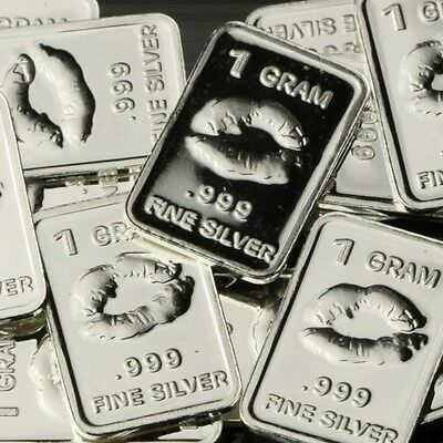Lot of 20 X 1 Gram  .999 Fine Silver Bar / Kiss  CWP964