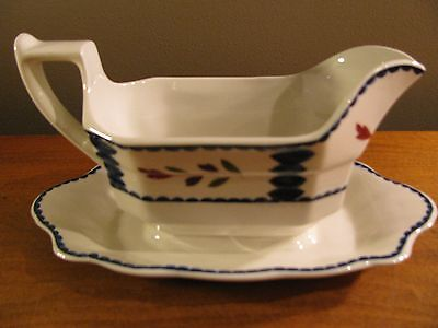 Adams Wedgwood China Gravy Boat with Under Plate. White Floral Design England