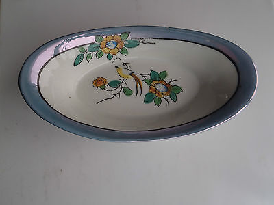VINTAGE BLUE LUSTER TRIMMED CANDY RELISH DISH HAND PAINTED JAPAN