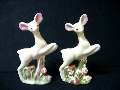 Lot 2 pottery LEAPING DEER figures hand decorated