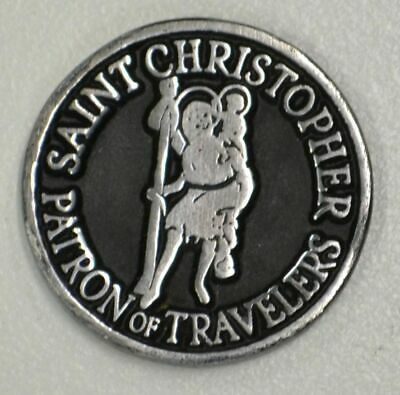ST CHRISTOPHER, PATRON OF TRAVELERS, Pocket Token With Message / Prayer 31mm Dia